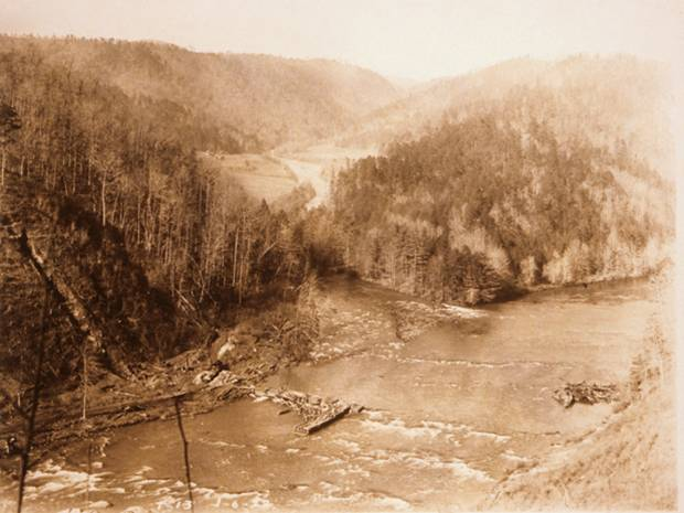 Photo courtesy of Georgia Power. It shows in the clearing the site of the Vandiver home place which is now underwater near the site of the Tugalo Dam in Tallulah Falls, Georgia